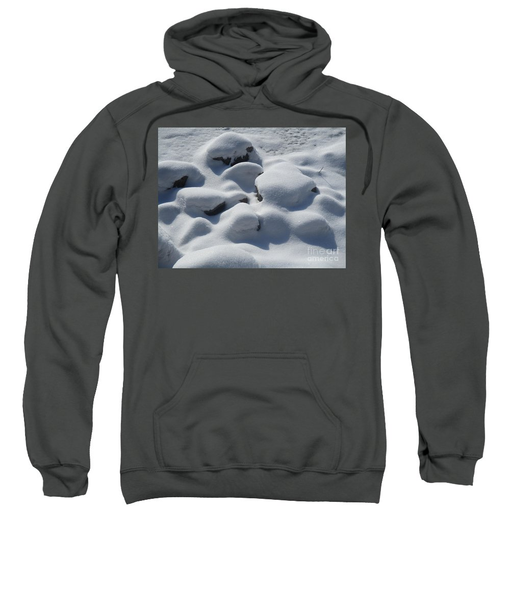 Snow Sweatshirt featuring the photograph Marshmallow Rocks by Sarah Berkner