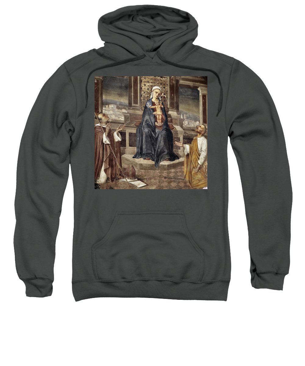 Italy Italian Mary Jesus Men Fresco Religious Religion Paint Painted Old Ancient Catholic Sweatshirt featuring the photograph Mary And Baby Jesus by Marilyn Hunt