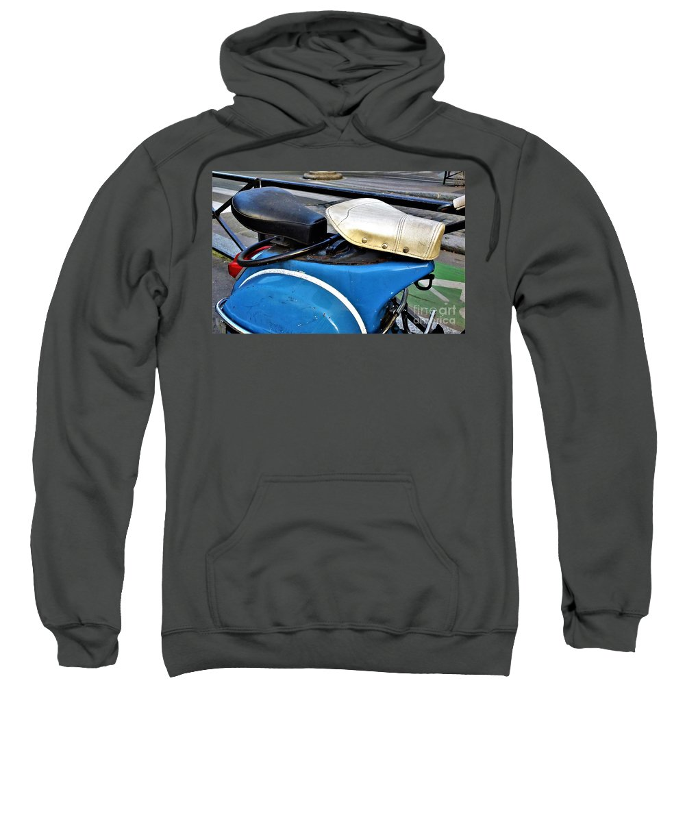Vespa. Scooter. Mod. Scooterist. Subculture. Street Photography. Paris Sweatshirt featuring the photograph Matching Seats by Jamie McGrane