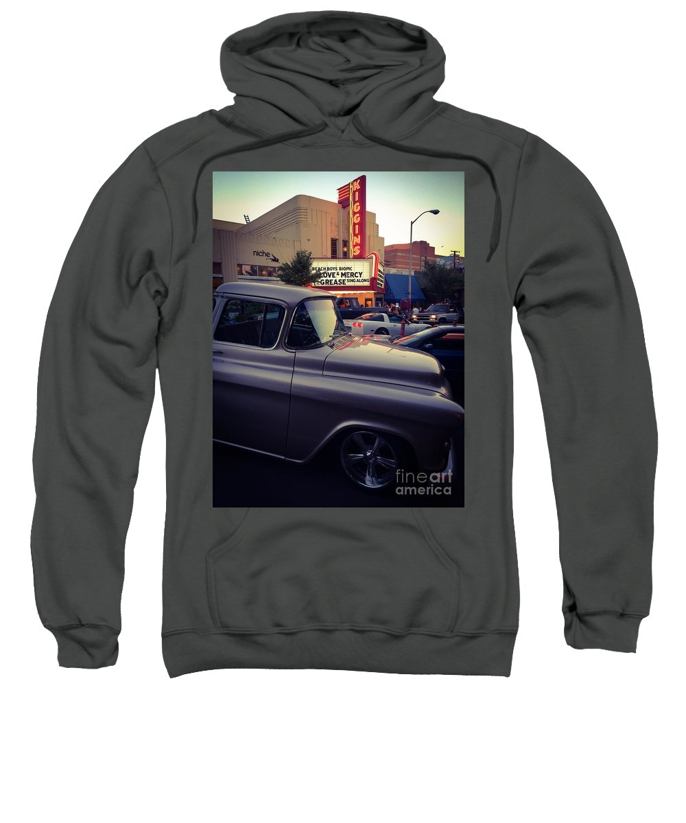 Movies Sweatshirt featuring the photograph Matinees And Trucks by Michael Gailey