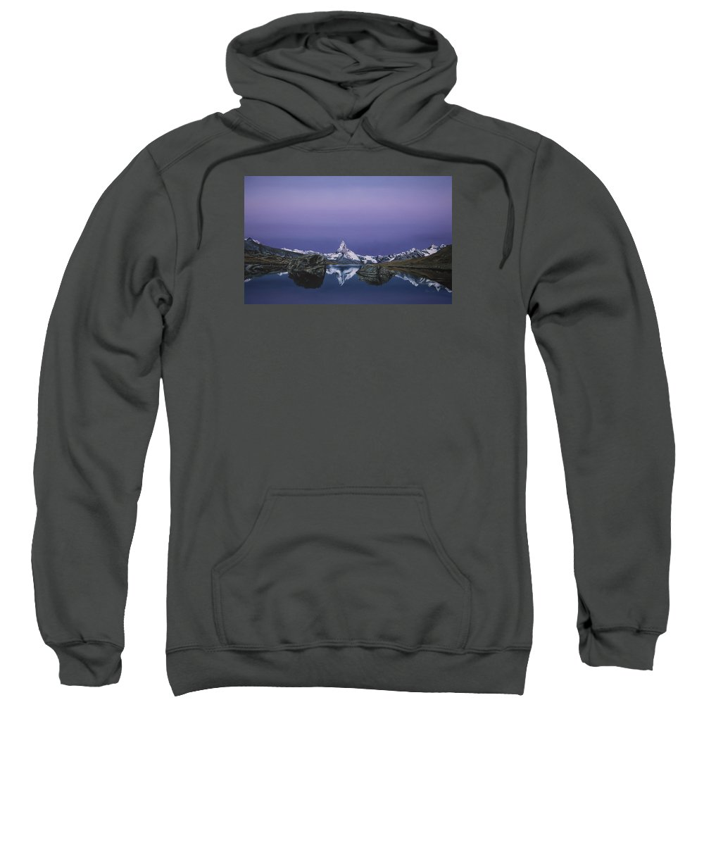 Mountain Sweatshirt featuring the painting Matterhorn by Mario Pichler