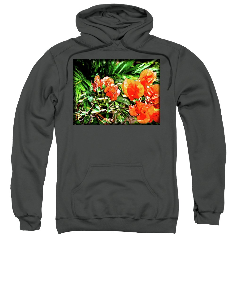 Botanical Sweatshirt featuring the digital art Maui Floral by Joan Minchak