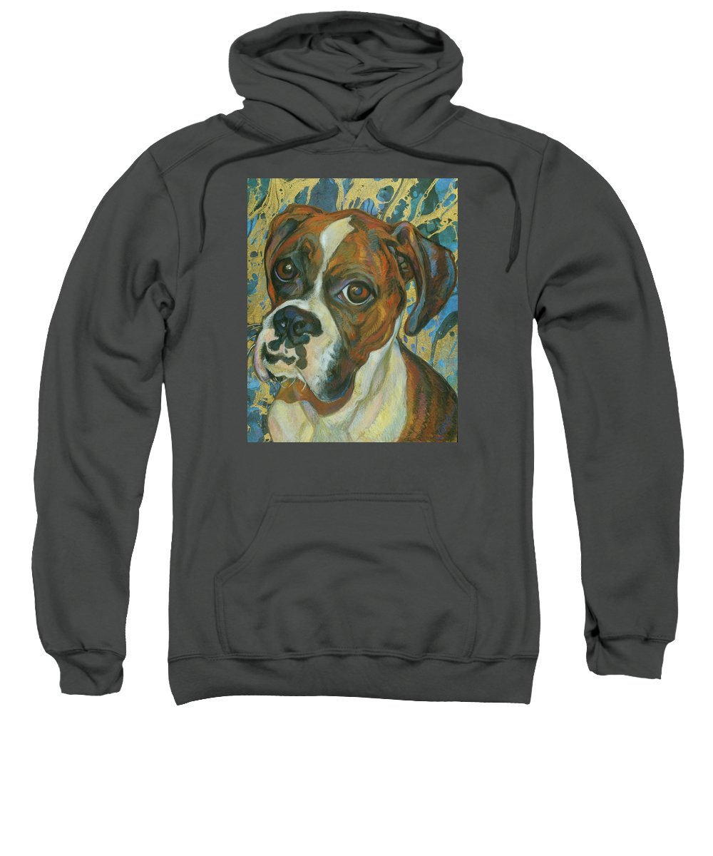 Boxer Sweatshirt featuring the painting Boxer by Jane Oriel