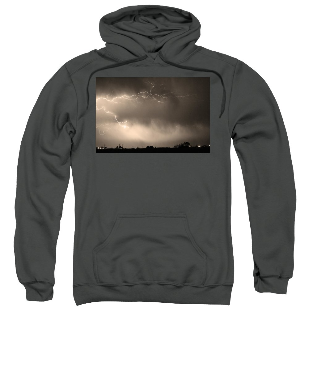 Bo Insogna Sweatshirt featuring the photograph May Showers 2 In Sepia - Lightning Thunderstorm 5-10-2011  by James BO Insogna