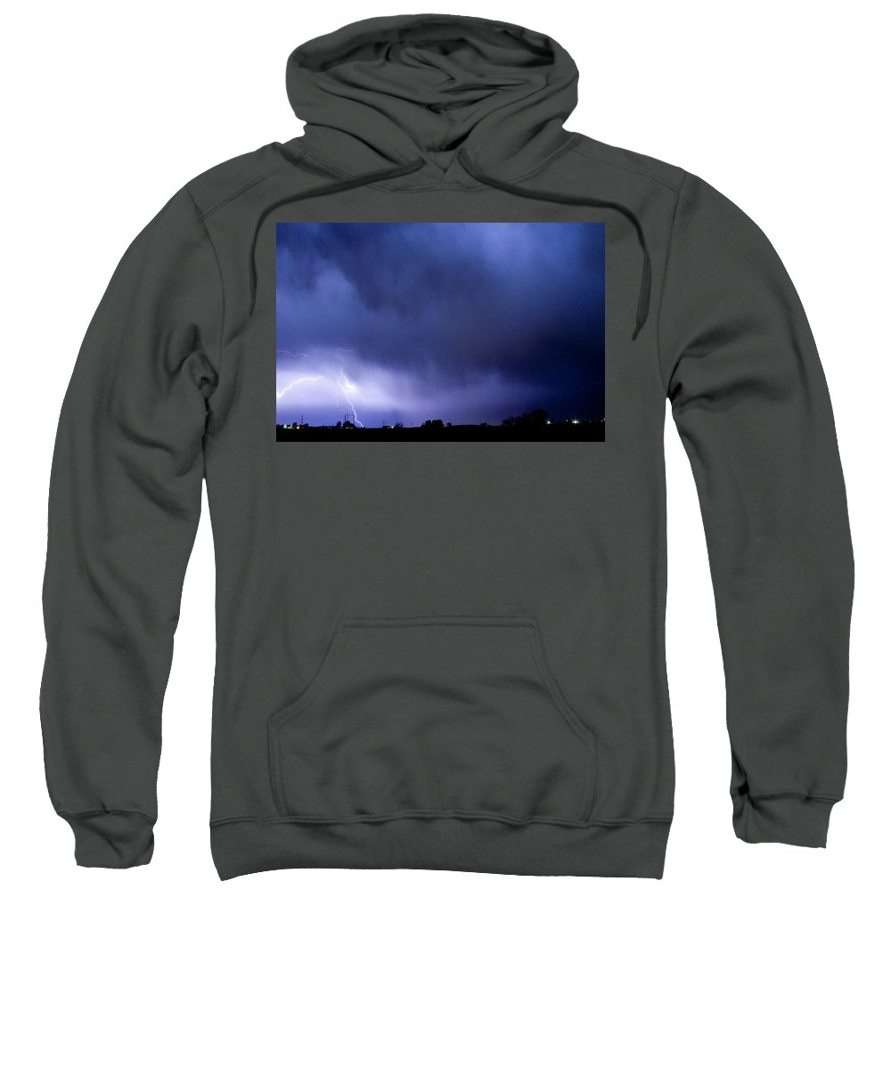 Bo Insogna Sweatshirt featuring the photograph May Showers 3 In Color - Lightning Thunderstorm 5-10-2011 Boulde by James BO Insogna