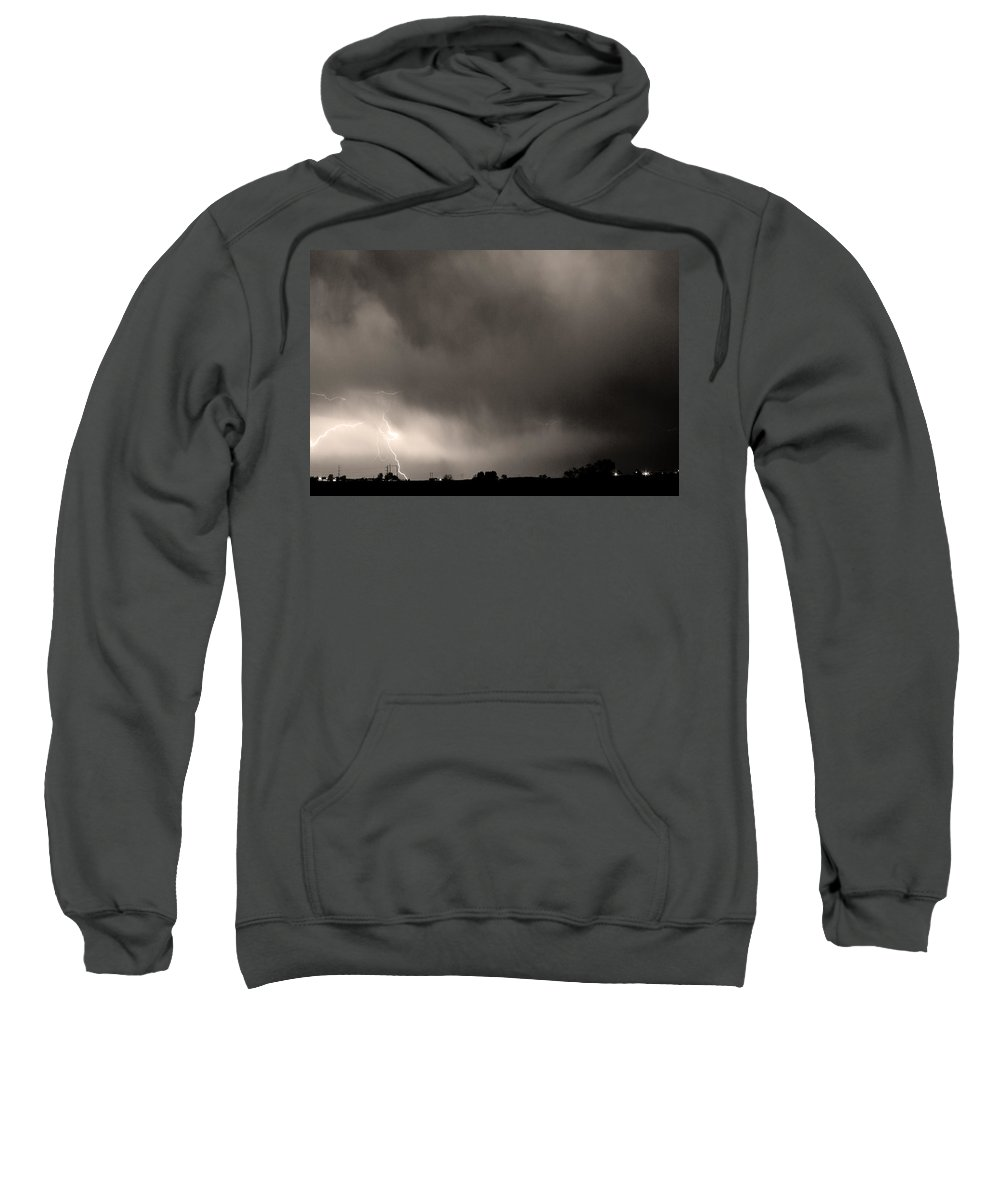 Bo Insogna Sweatshirt featuring the photograph May Showers 3 In Sepia - Lightning Thunderstorm 5-10-2011 Boulde by James BO Insogna