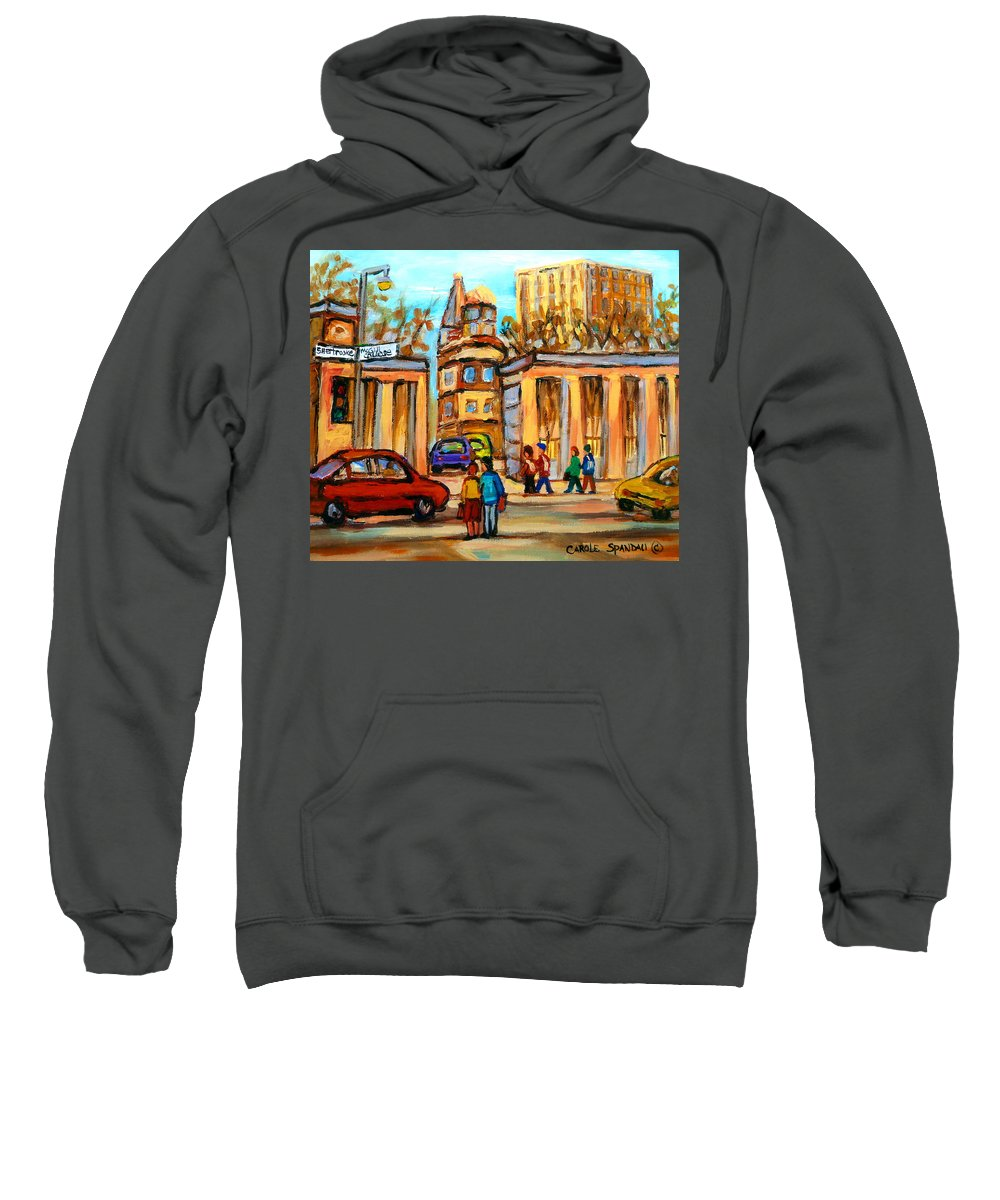 Montreal Cityscapes Sweatshirt featuring the painting Mcgill Roddick Gates by Carole Spandau