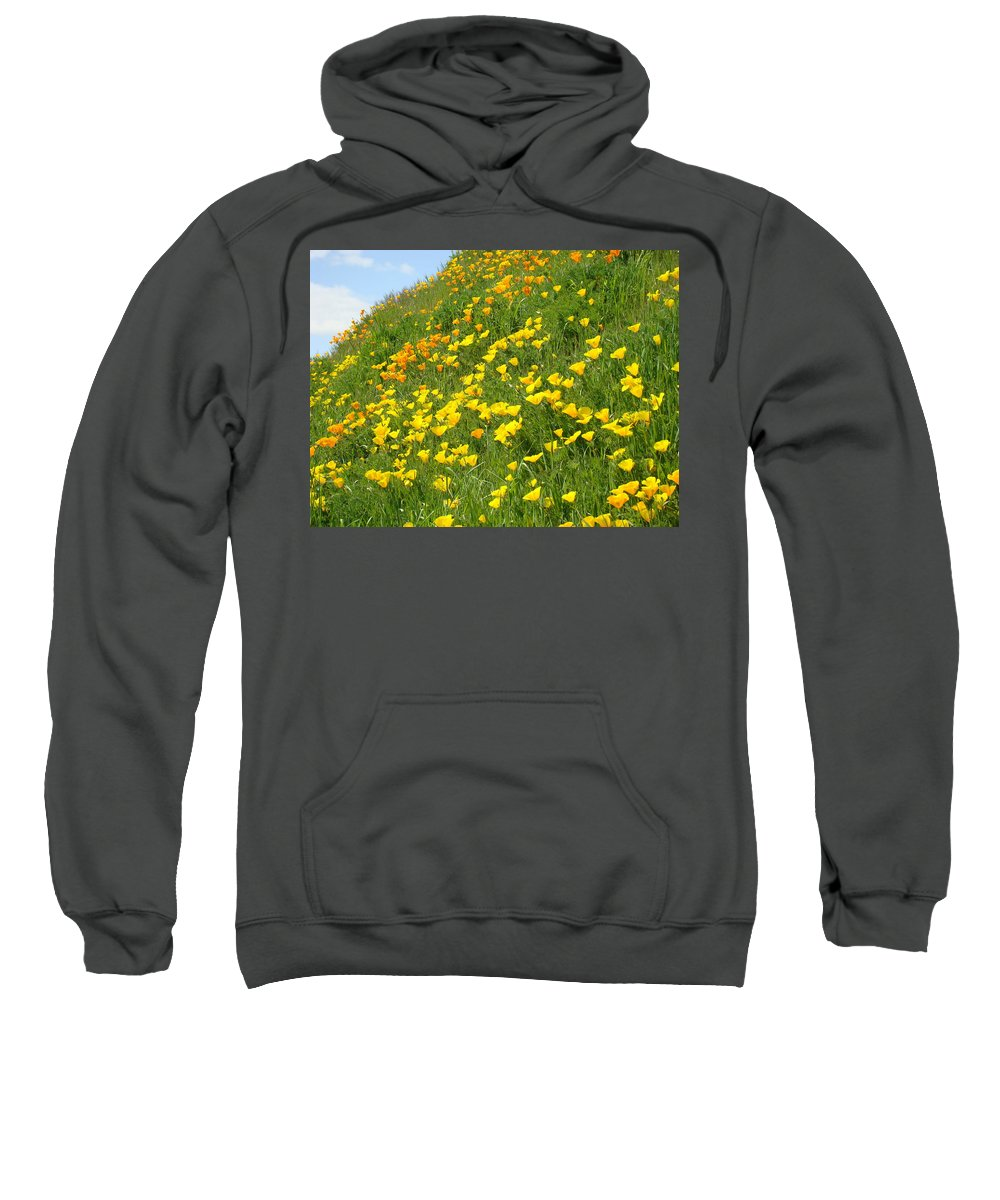 �poppies Artwork� Sweatshirt featuring the photograph Meadow Hillside Poppy Flowers 8 Poppies Artwork Gifts by Baslee Troutman