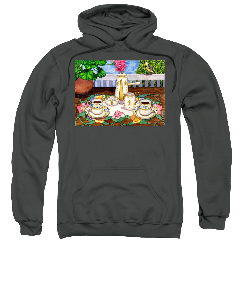Coffee Sweatshirt featuring the painting Meadowlark by Catherine G McElroy