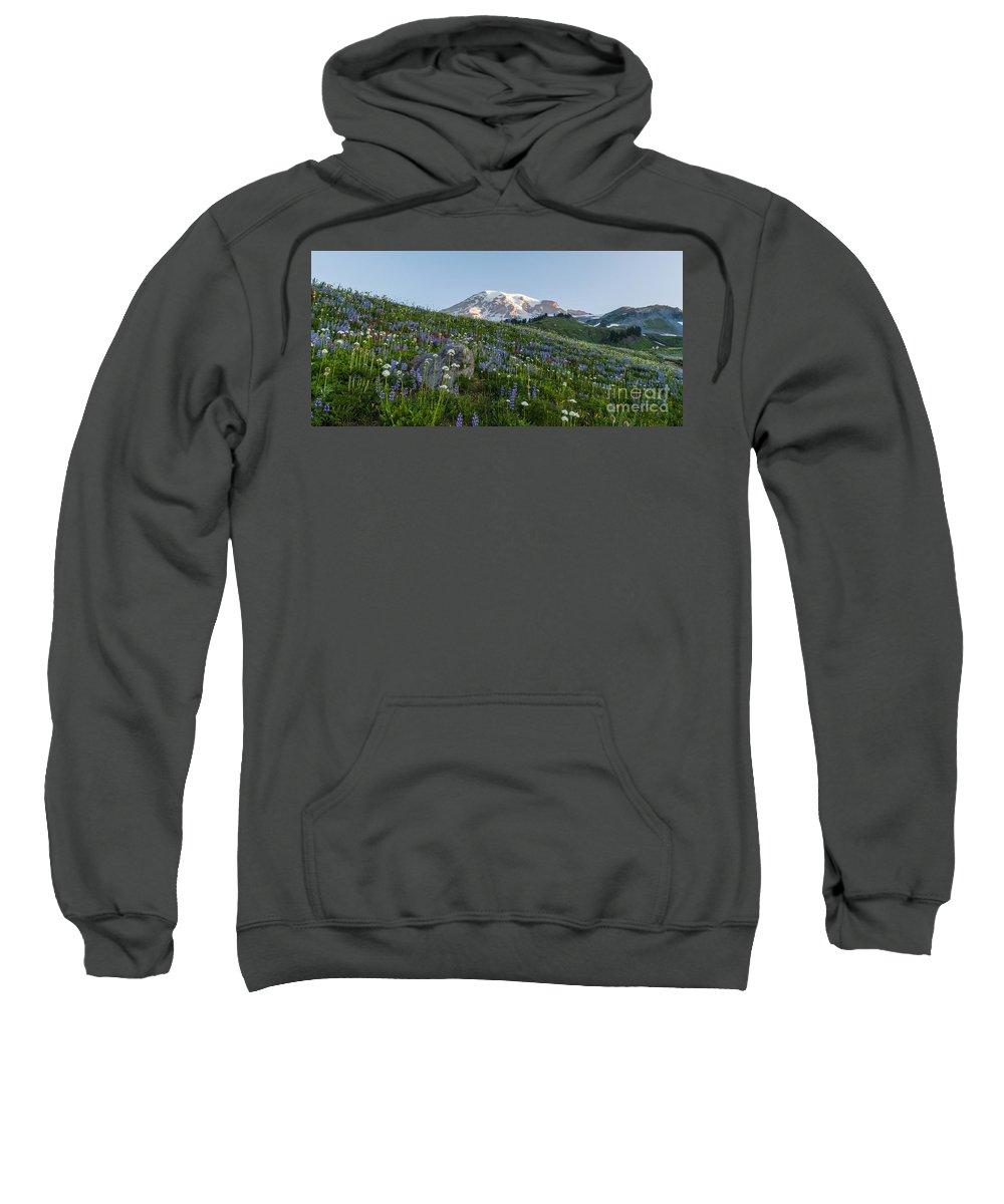 Rainier Sweatshirt featuring the photograph Meadows Of Glory by Mike Reid