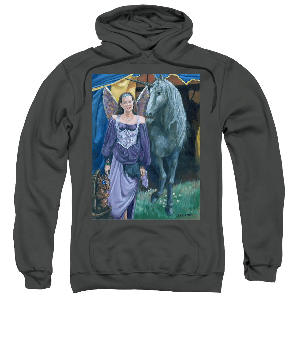 Fairy Faerie Unicorn Dragon Renaissance Festival Sweatshirt featuring the painting Medieval Fantasy by Bryan Bustard