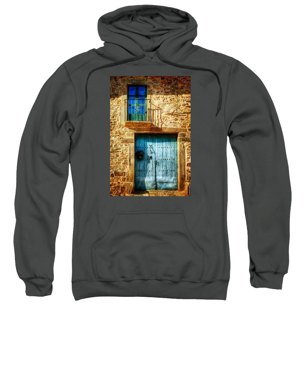 Gate Sweatshirt featuring the photograph Medieval Spanish Gate And Balcony - Vintage Version by Weston Westmoreland