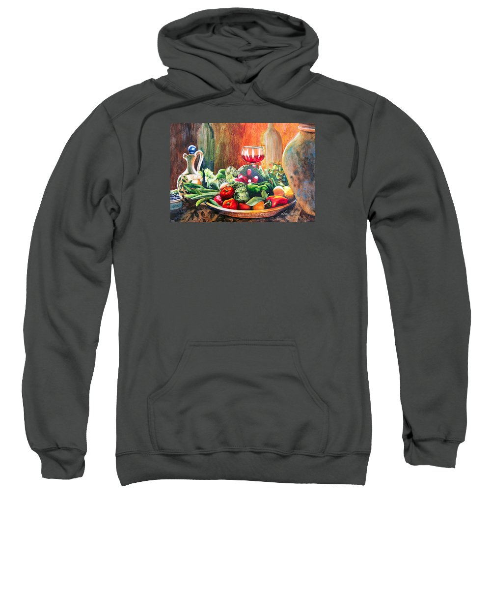 Still Life Sweatshirt featuring the painting Mediterranean Table by Karen Stark