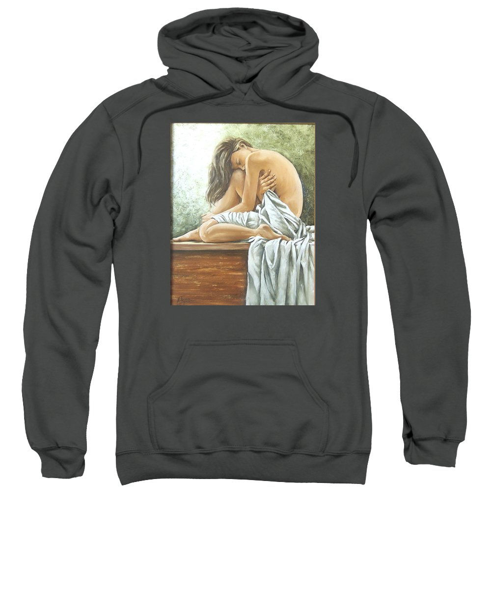 Gir Sweatshirt featuring the painting Melancholy by Natalia Tejera