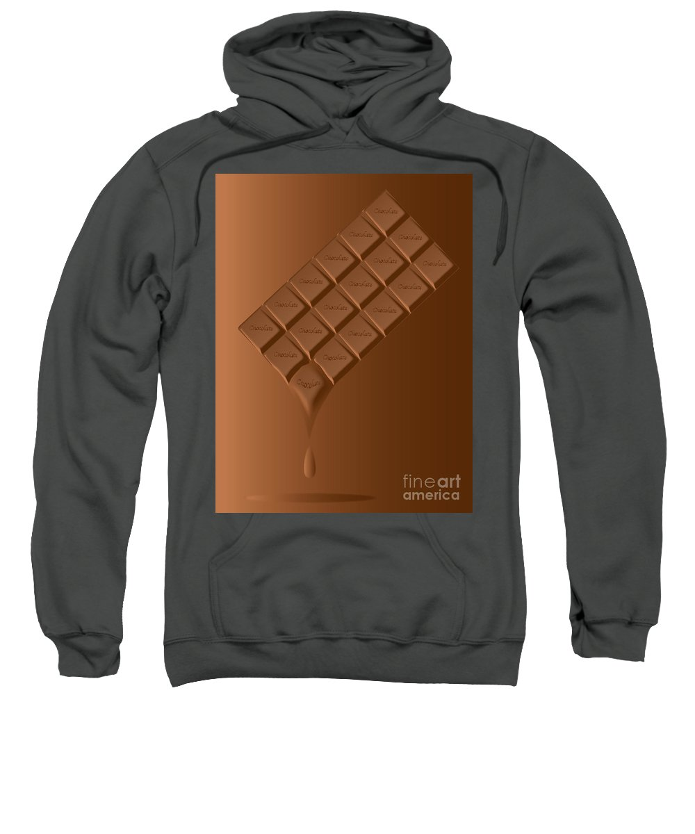 Chocolate Sweatshirt featuring the digital art Melting Chocolate Bar by Bigalbaloo Stock
