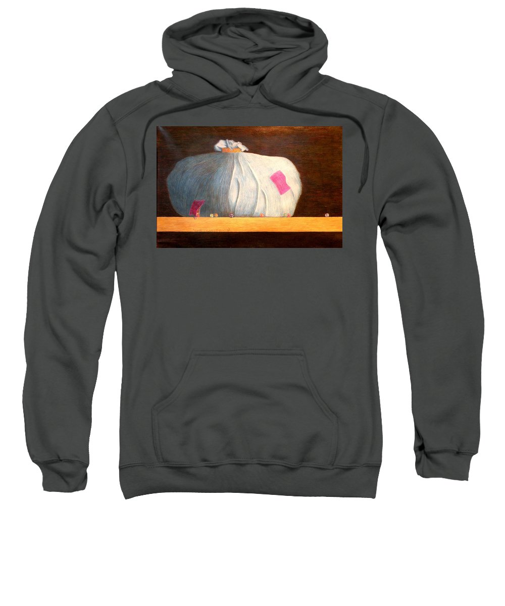 Still Life Sweatshirt featuring the painting Mental Escapees by A Robert Malcom