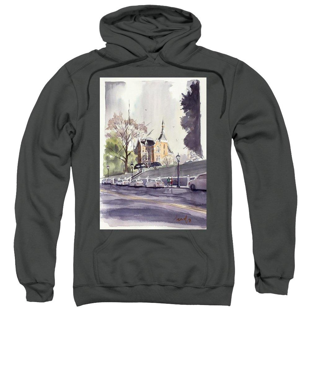 Mercer University Sweatshirt featuring the painting Mercer's Godsey Building by Scott Serafy
