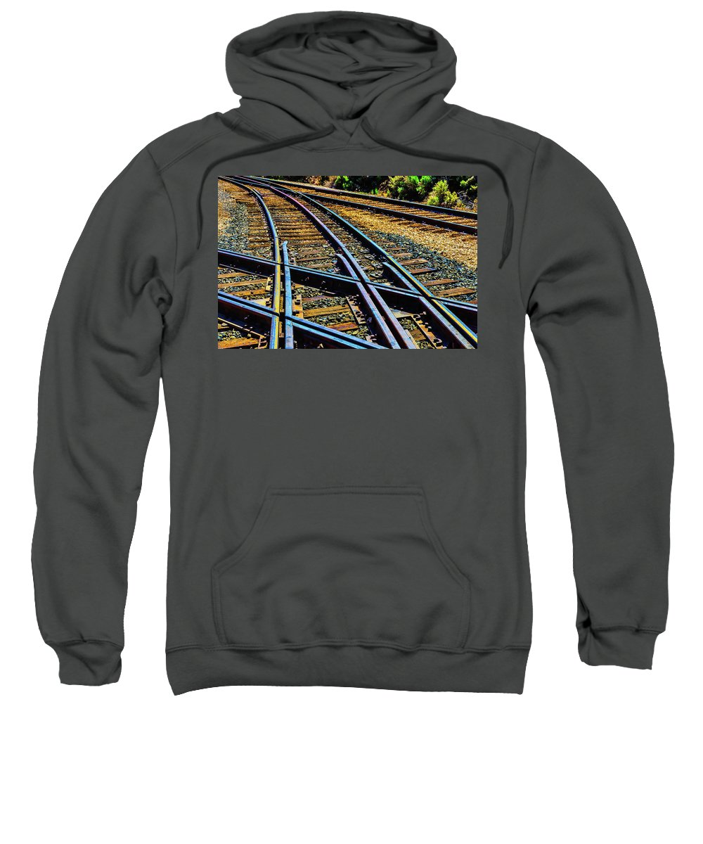 Railroad Sweatshirt featuring the photograph Merging Tracks by Garry Gay