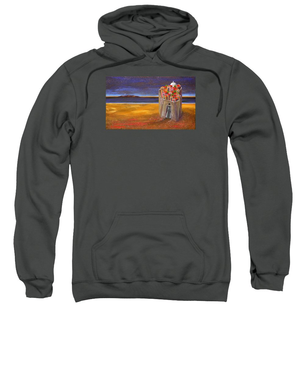 Superrealism Sweatshirt featuring the painting Mesi Castle Village by Dimitris Milionis