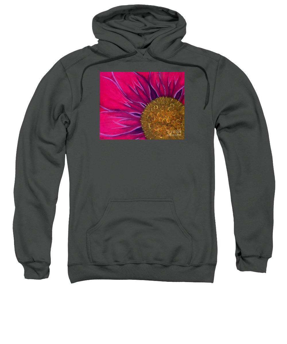 Flower Sweatshirt featuring the painting Metallic Flowers by Jade Kozlowski-Goetz