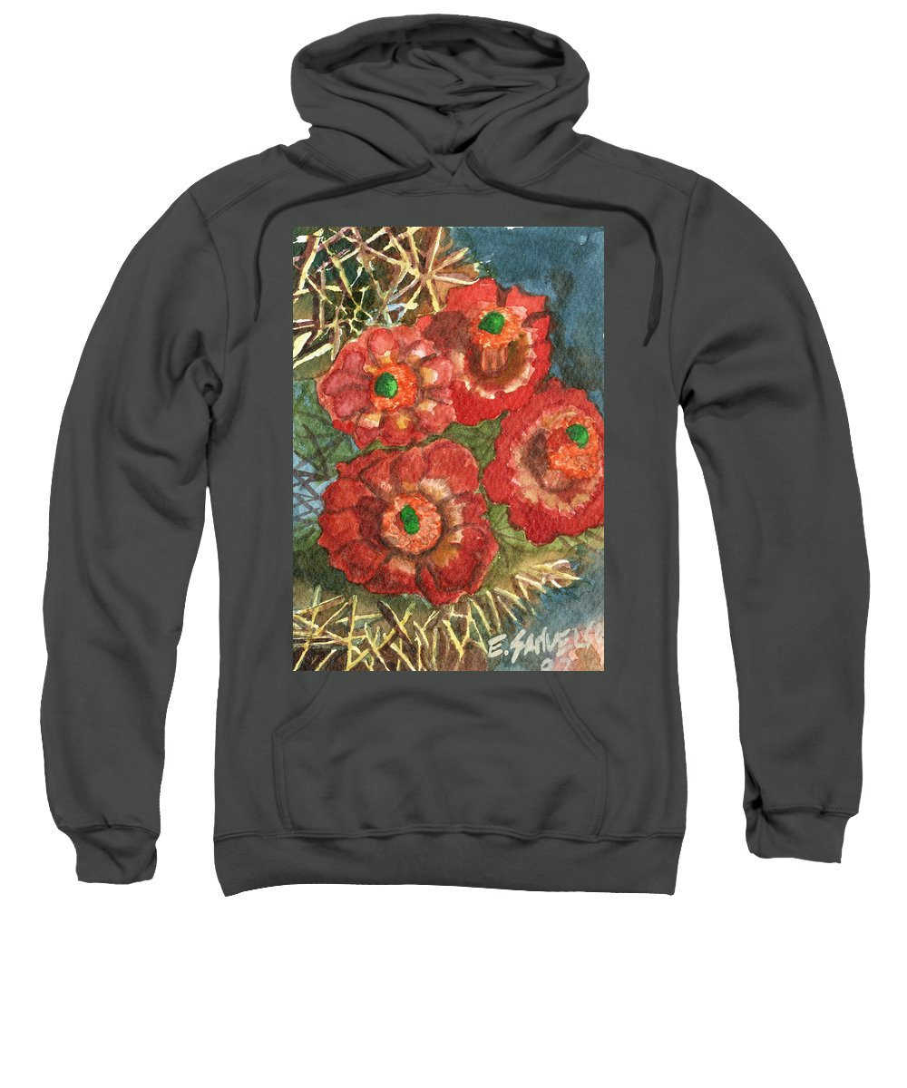 Orange Sweatshirt featuring the painting Mexican Pincushion by Eric Samuelson