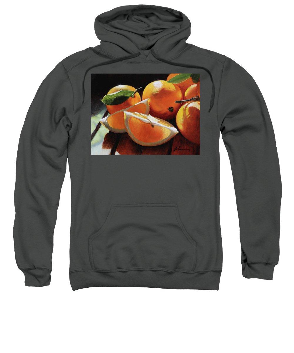 Lemons Sweatshirt featuring the painting Meyer Lemons by Michael Lynn Adams