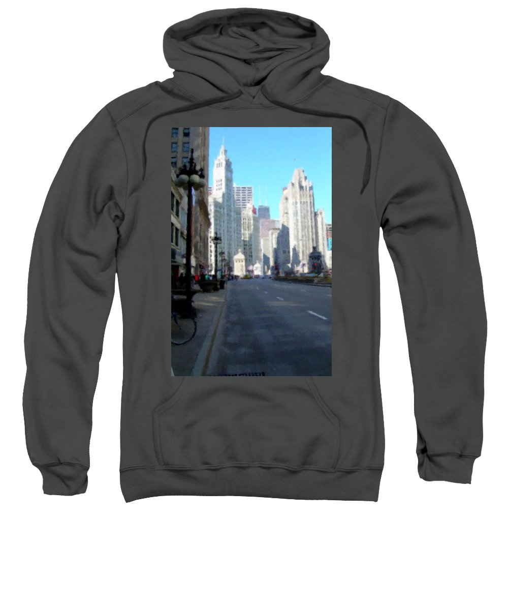 Chicago Sweatshirt featuring the digital art Michigan Ave Tall by Anita Burgermeister