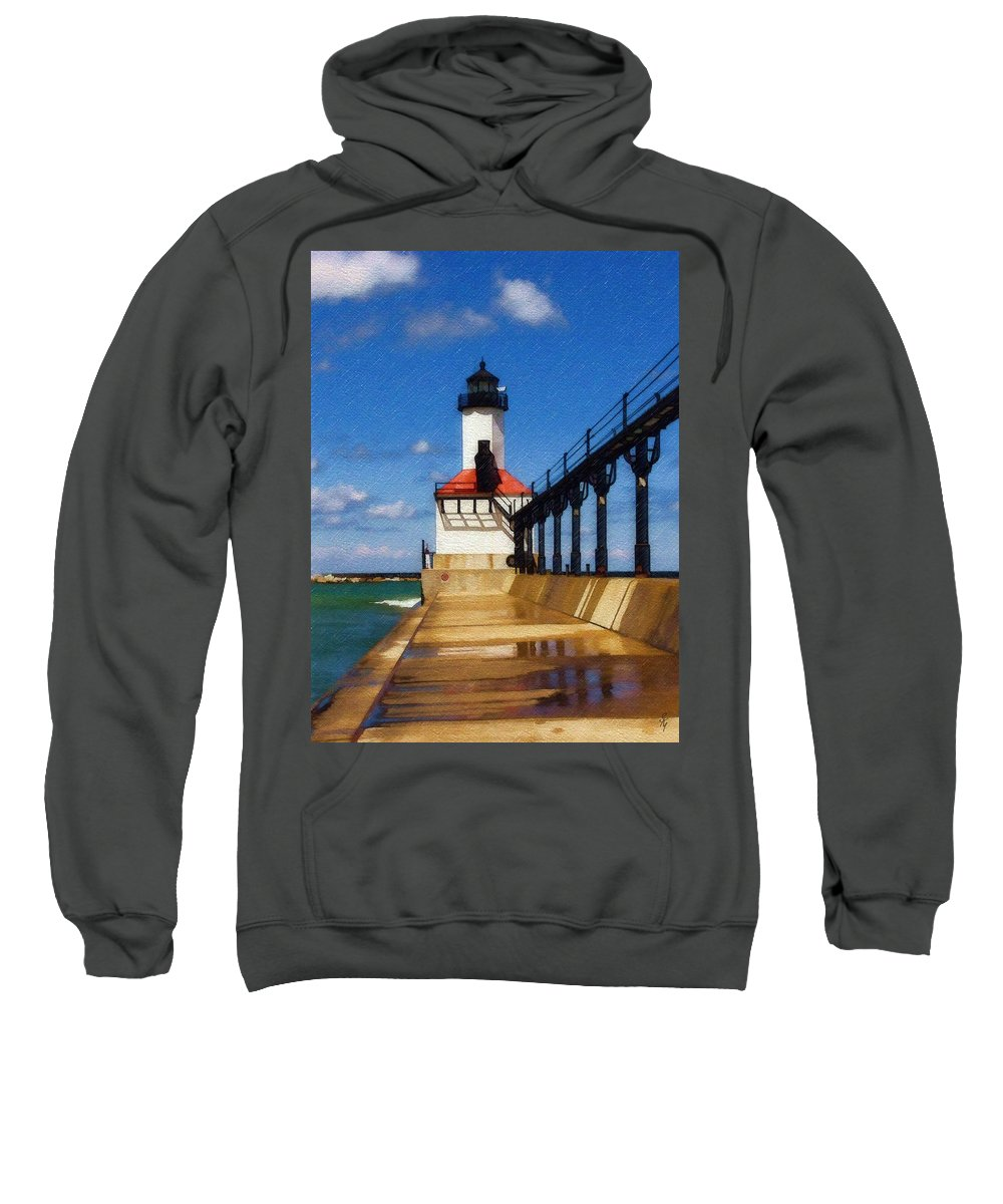 Lighthouse Sweatshirt featuring the photograph Michigan City Light 1 by Sandy MacGowan