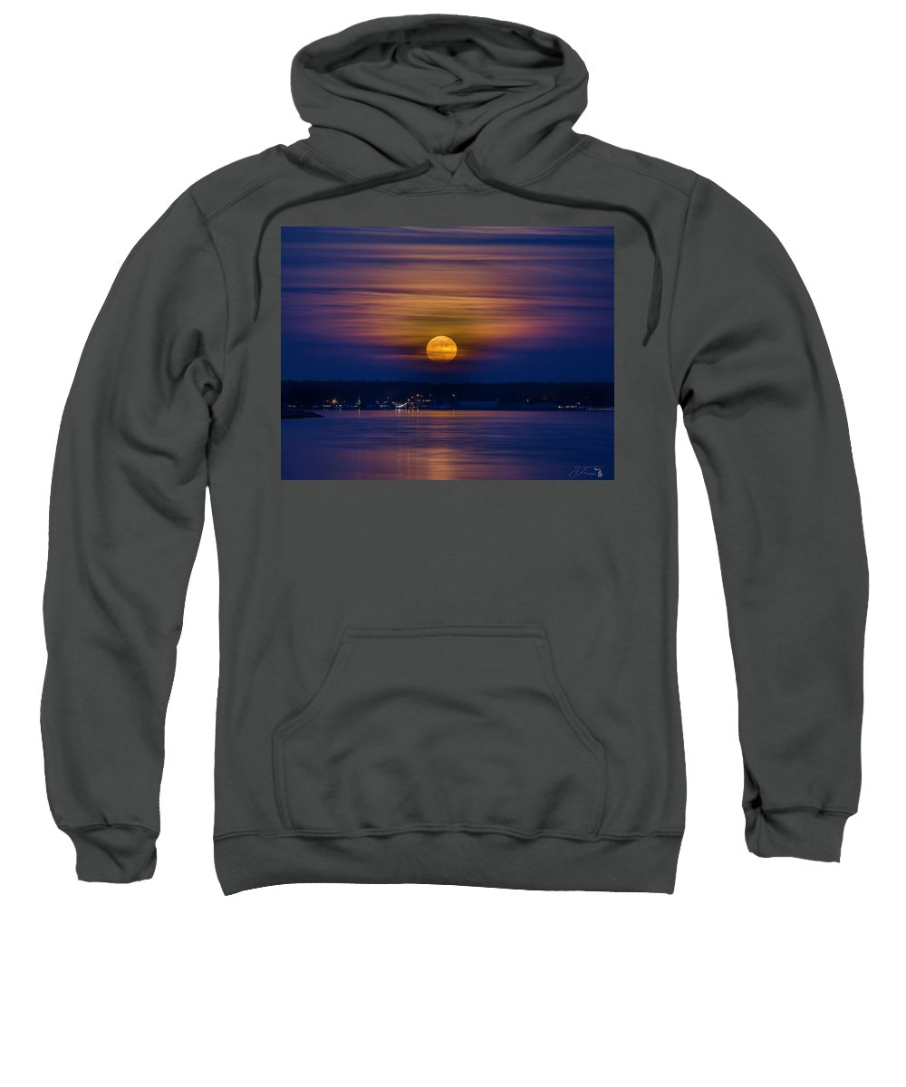 Moon Sweatshirt featuring the photograph Michigan Super Moon Over Muskegon Lake by J Thomas