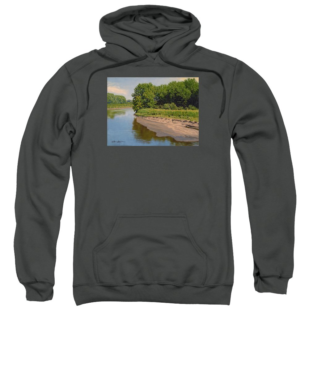 Summer Landscape Sweatshirt featuring the painting Mid Summer Prairie Stream by Bruce Morrison