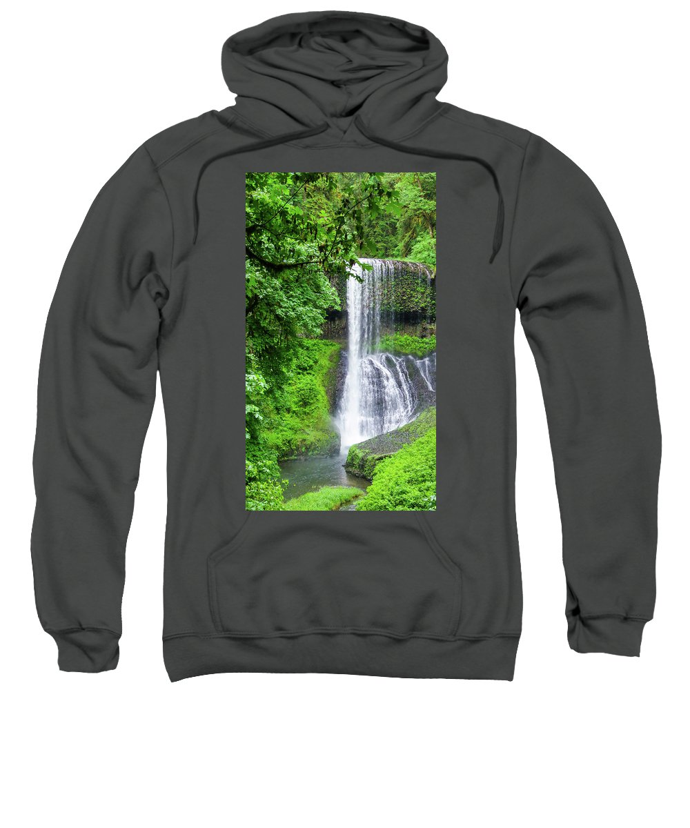 Water Falls Sweatshirt featuring the photograph Middle North Falls 2 by Mike Wheeler
