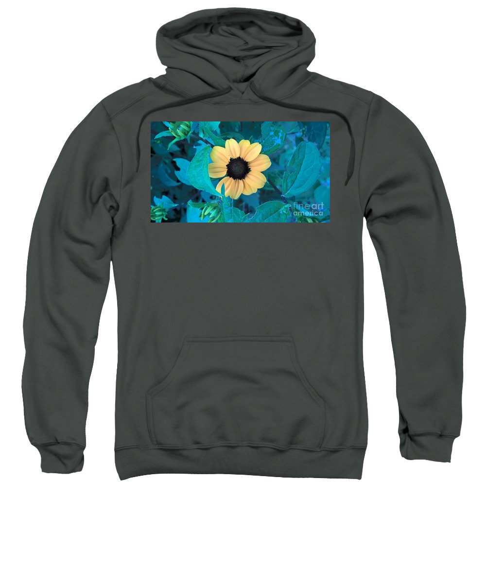 Yellow Flowers Sweatshirt featuring the photograph Midnight Bloom by Jena Suits