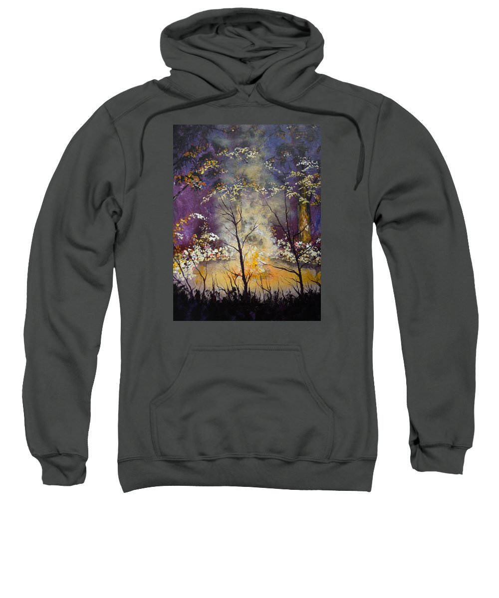 Camp Sweatshirt featuring the painting Midnight Campsite by Dan Whittemore