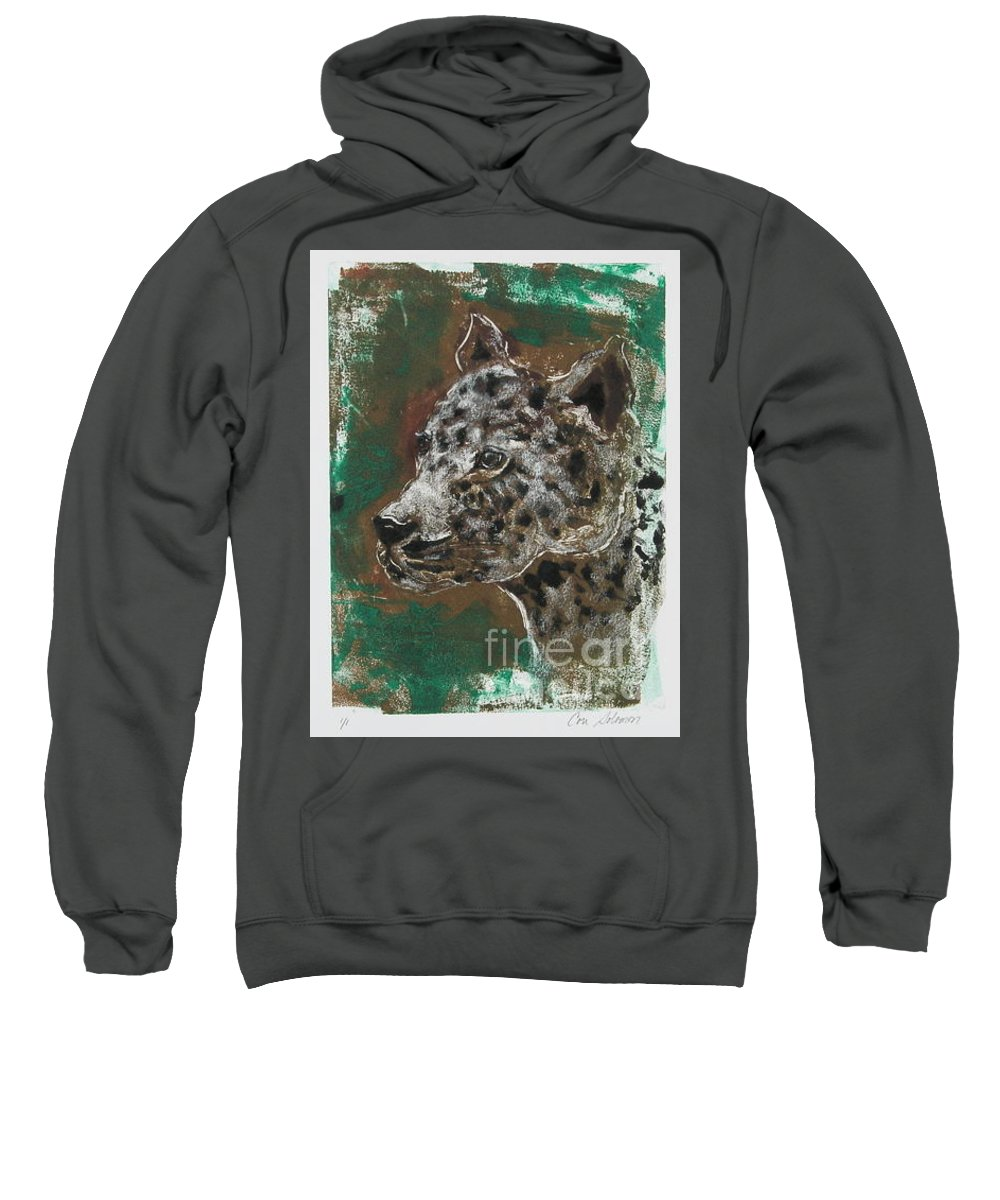 Monotype Sweatshirt featuring the mixed media Midnight Prowler by Cori Solomon