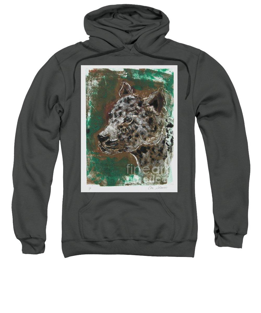 Monotype Sweatshirt featuring the mixed media Midnight Prowler by Cori Solomon
