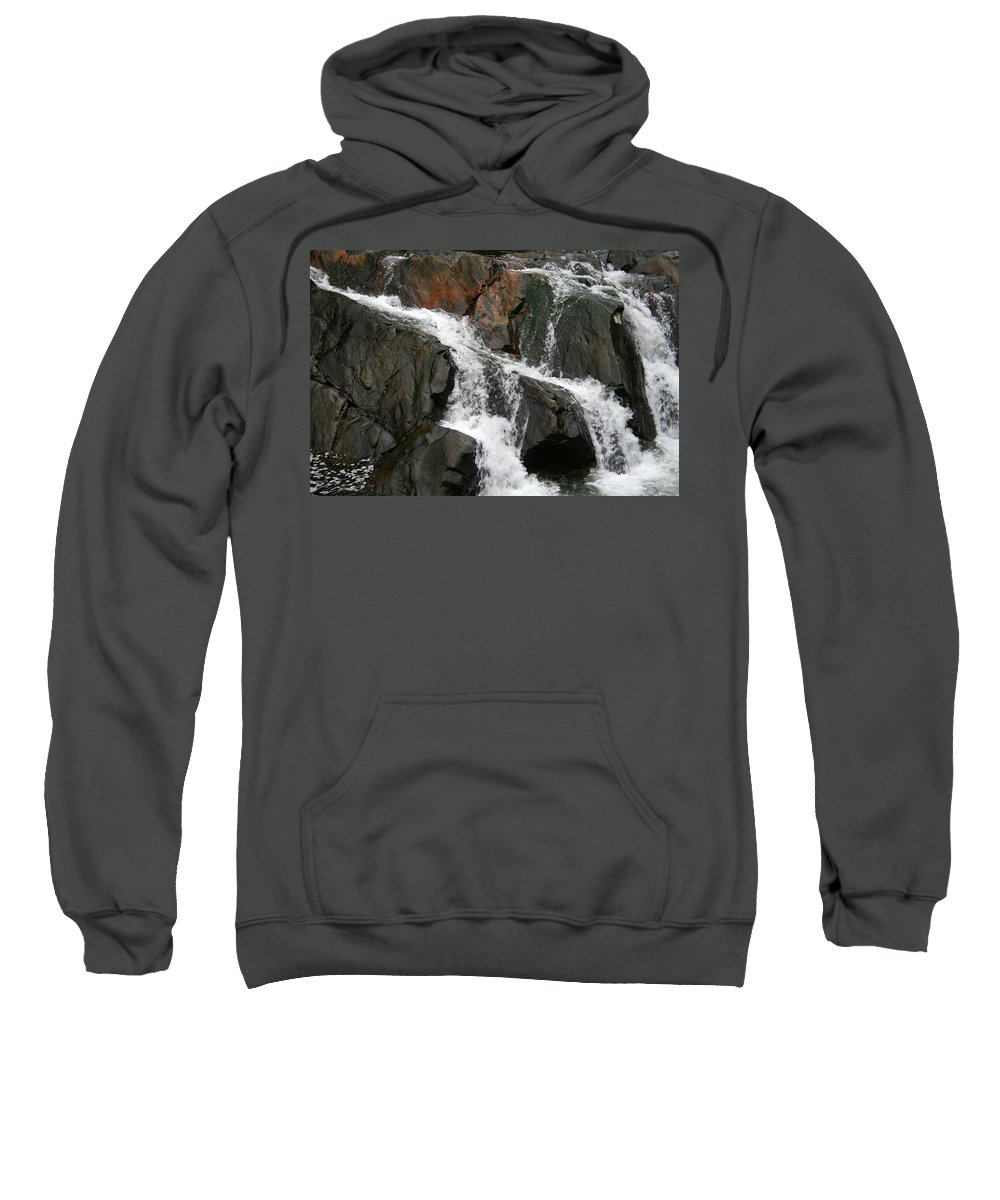 Water Waterfall Rush Rushing Cold River Creek Stream Rock Stone Wave White Wet Sweatshirt featuring the photograph Might by Andrei Shliakhau