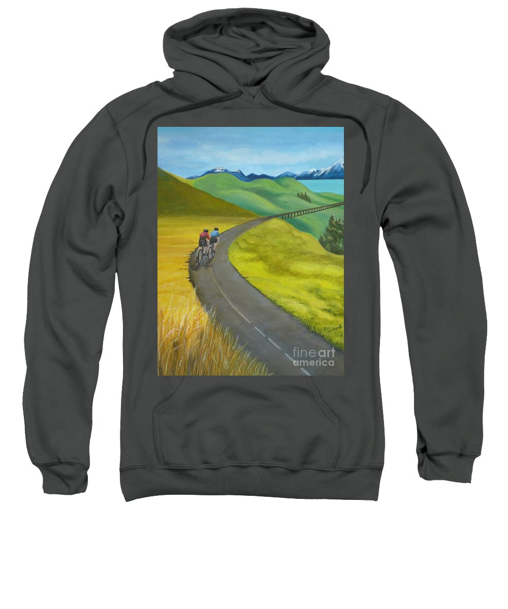 Bicycles Sweatshirt featuring the painting Miles To Go by Kris Crollard