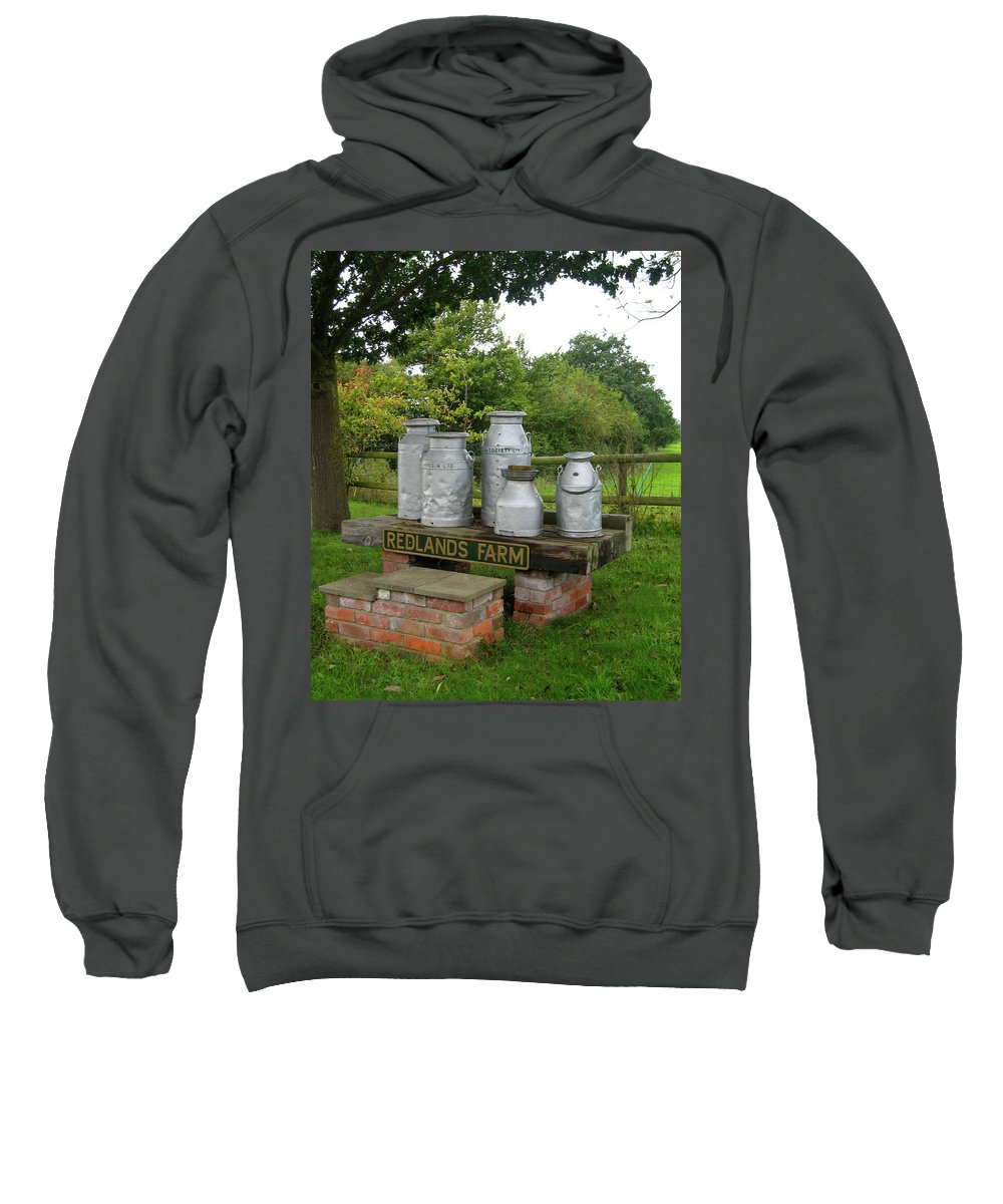 Wiltshire Sweatshirt featuring the photograph Milkcans Wiltshire England by Kurt Van Wagner