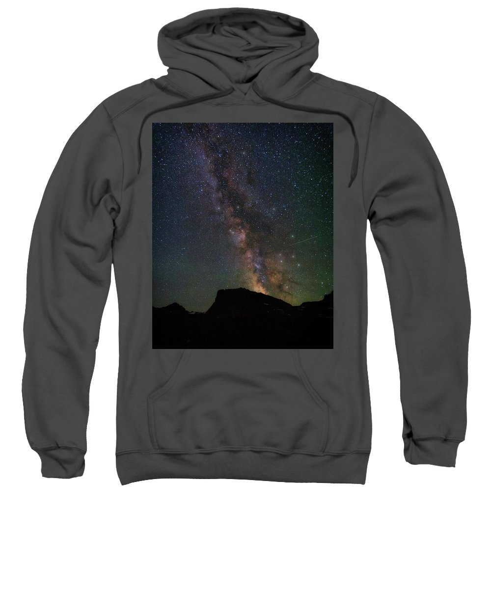 Astrophotography Sweatshirt featuring the photograph Milkyway Over Chief Mt by Alan Anderson