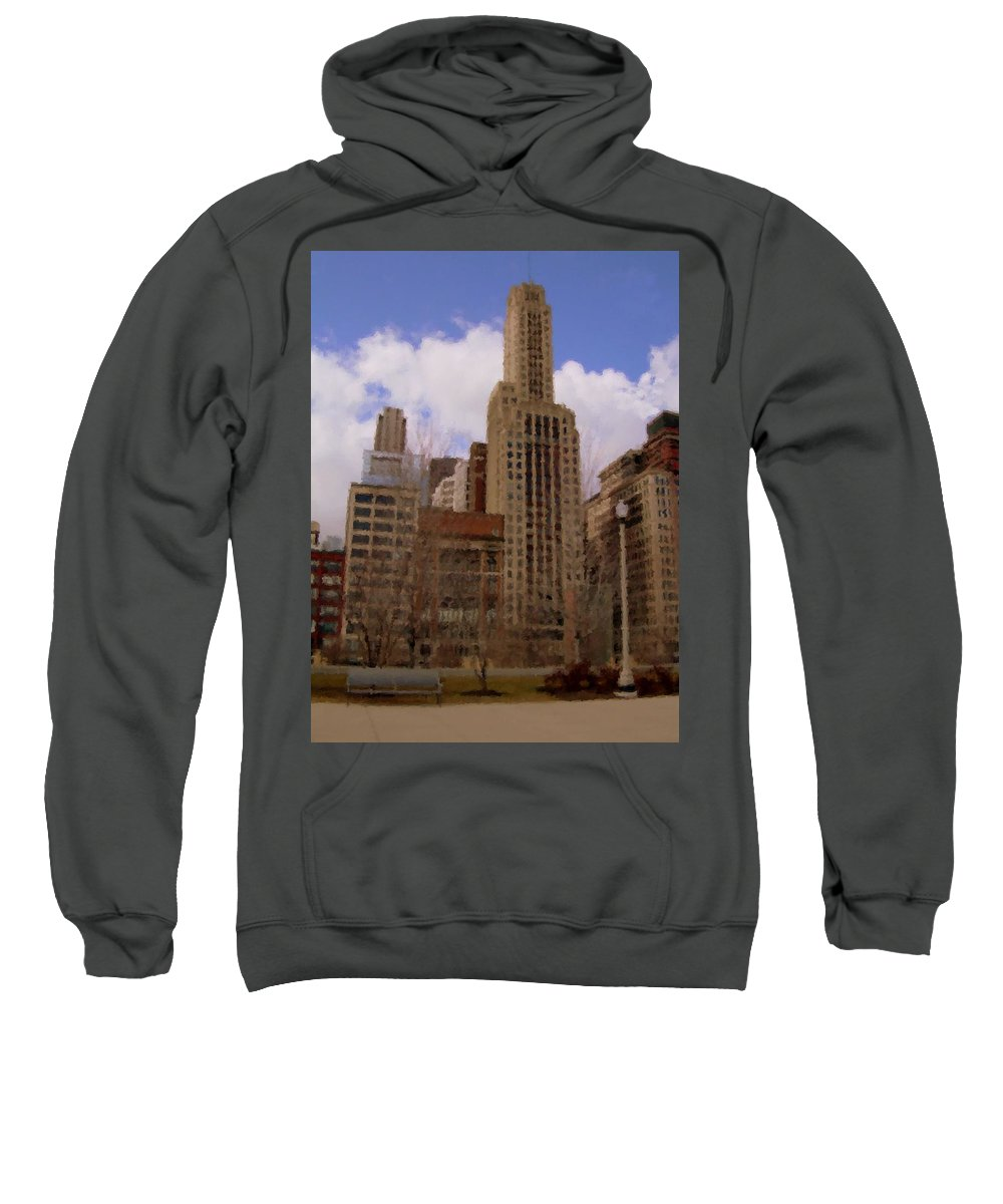 Chicago Sweatshirt featuring the digital art Millenium Park And Bench 1 by Anita Burgermeister