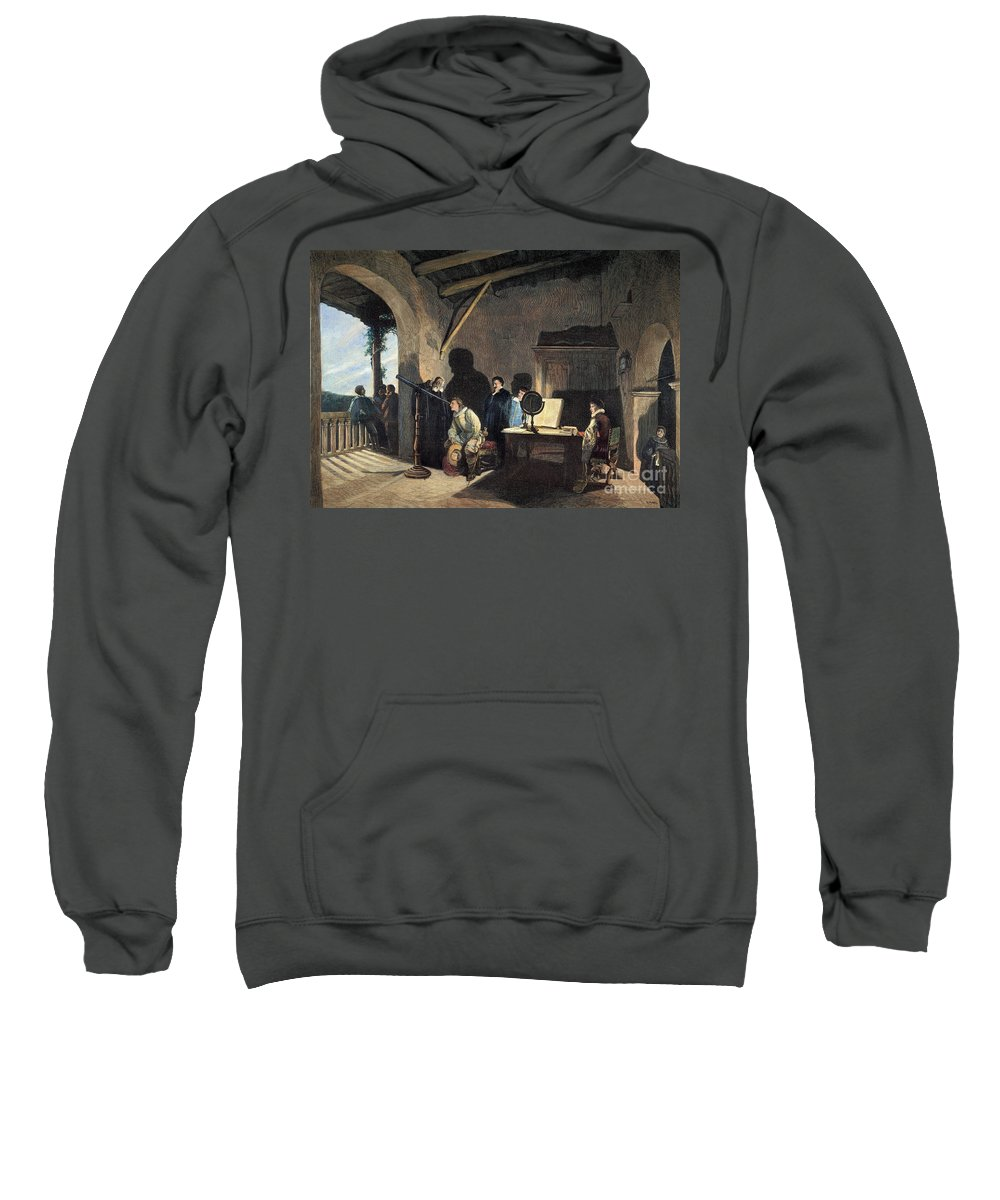 1638 Sweatshirt featuring the photograph Milton Visiting Galileo by Granger