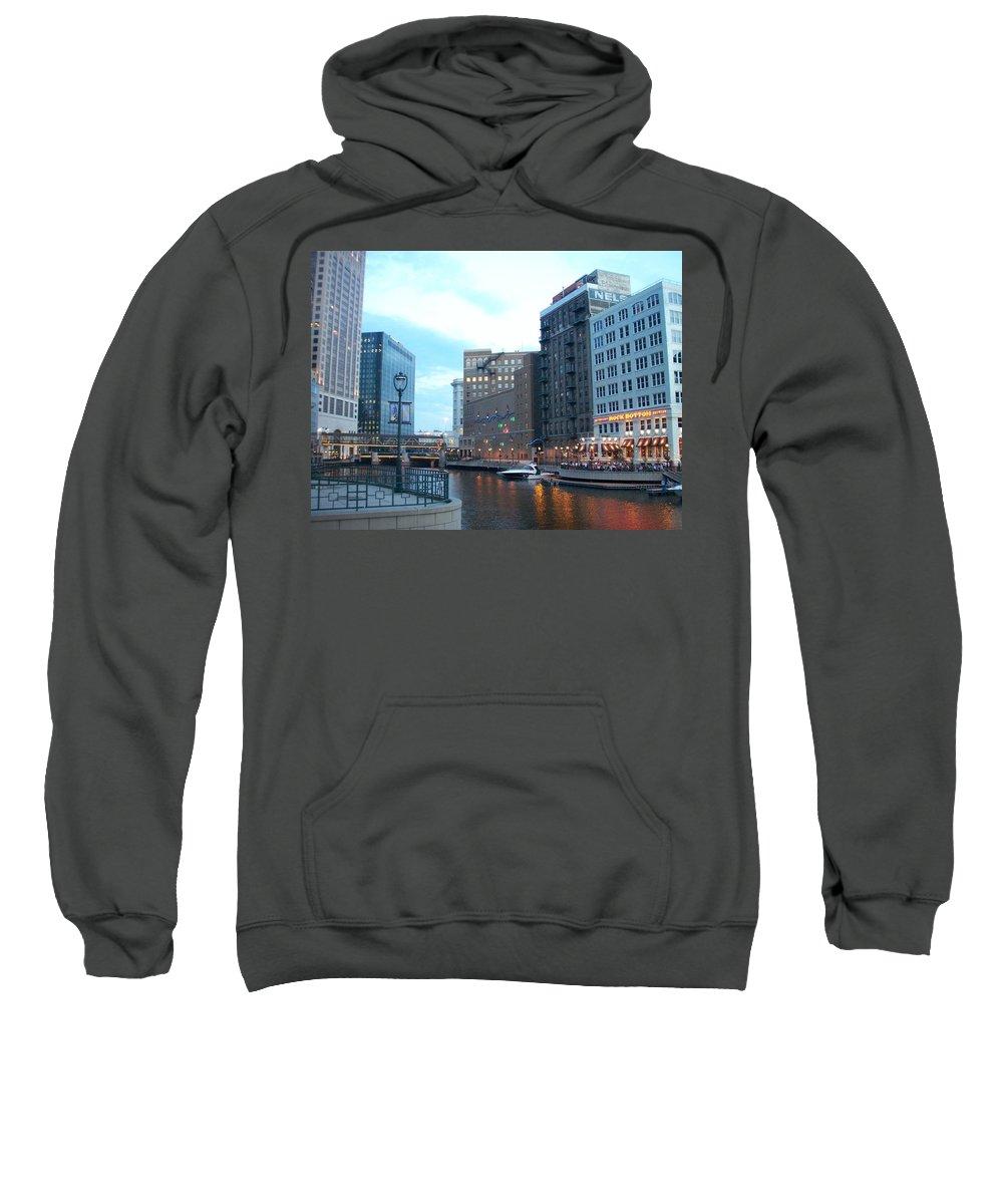 Milwaukee Sweatshirt featuring the photograph Milwaukee River Walk by Anita Burgermeister