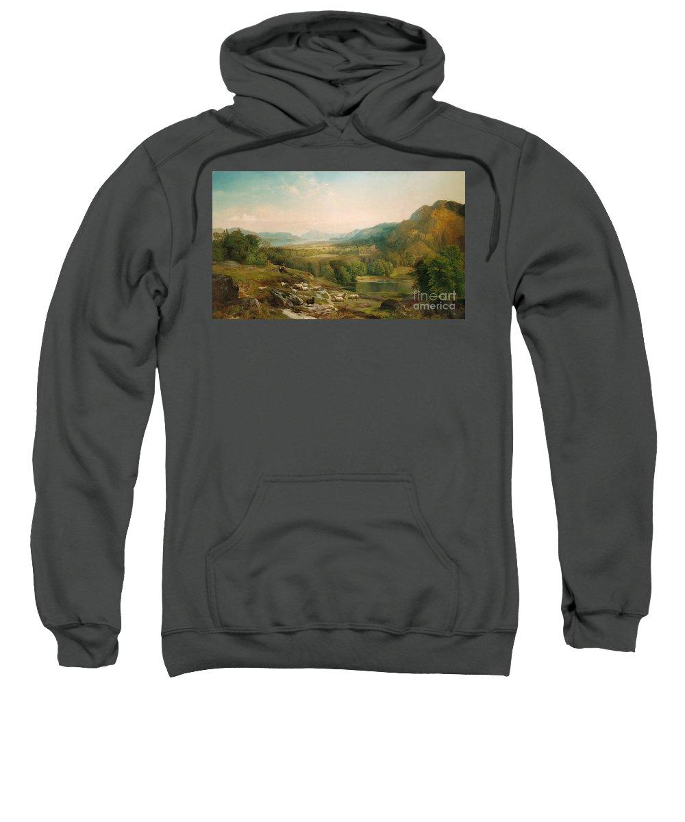 Thomas Moran Sweatshirt featuring the painting Minding The Flock by Thomas Moran