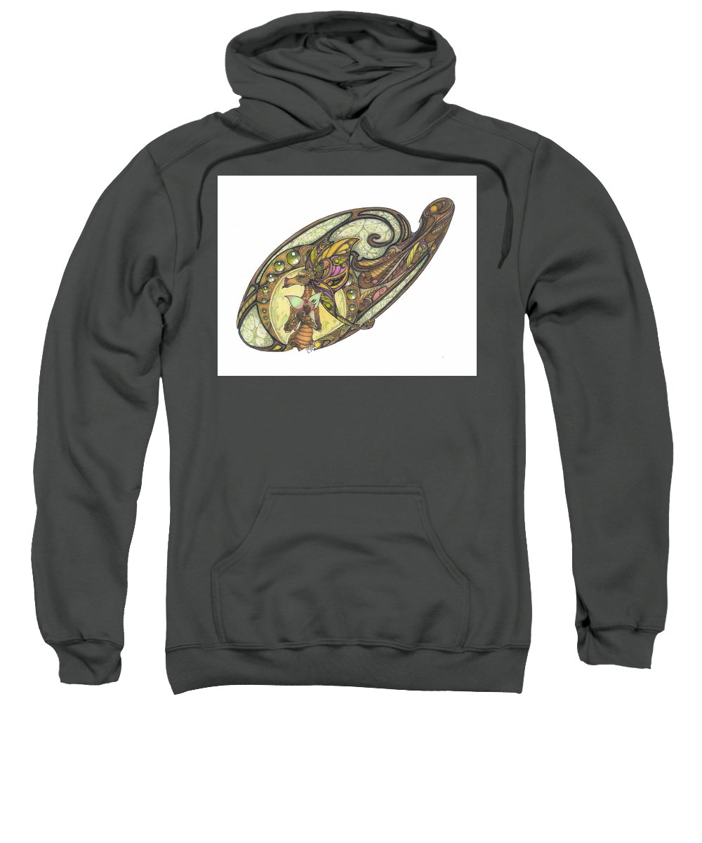 Dragon Sweatshirt featuring the mixed media Mine by Eileen King