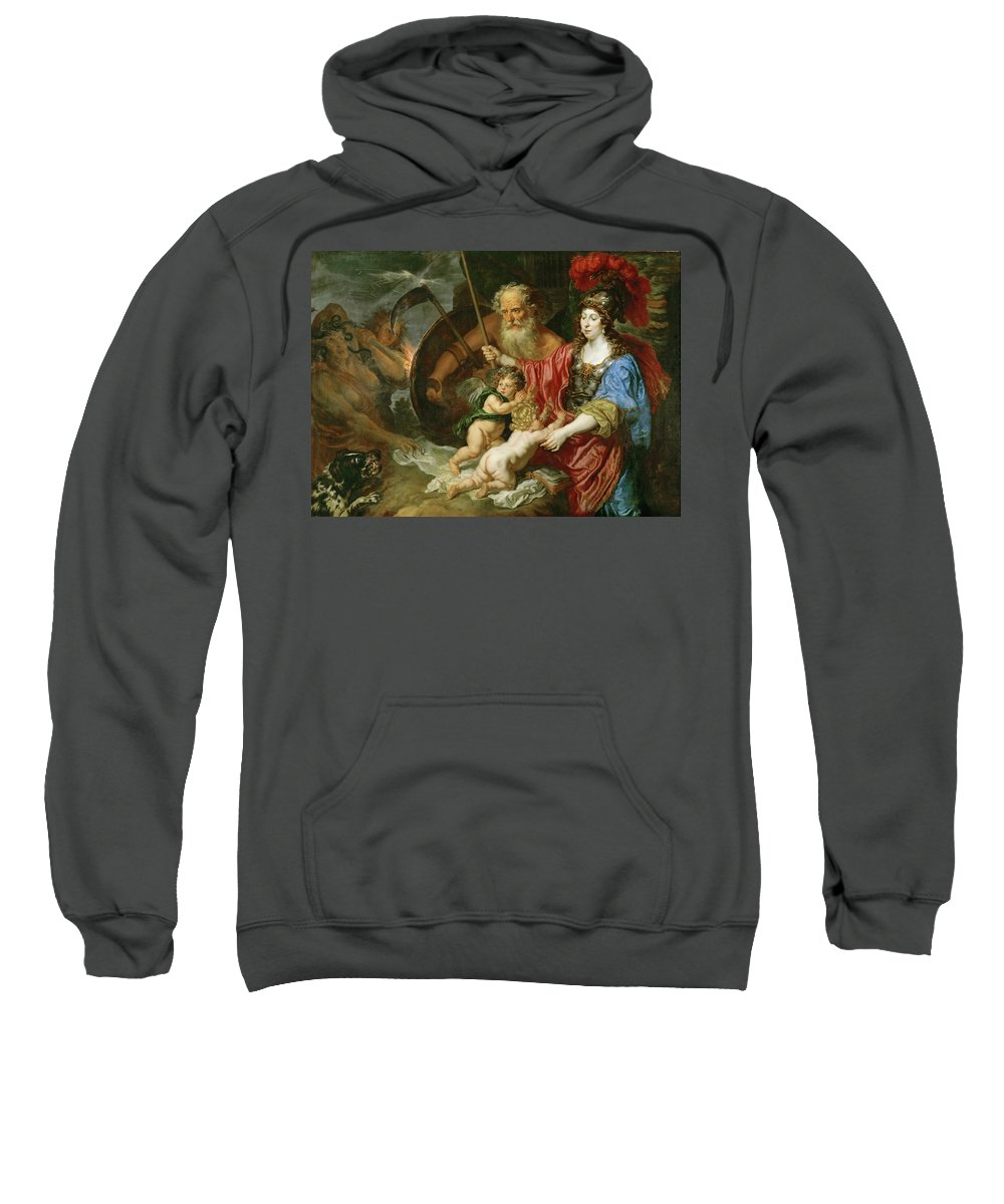 Joachim Von Sandrart Sweatshirt featuring the painting Minerva And Saturn Protecting Art And Science From Envy And Lies by Joachim von Sandrart