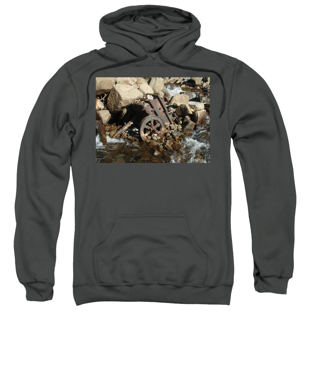 Landscape Sweatshirt featuring the photograph Mining Cart Boulder Falls by Dennis Boyd