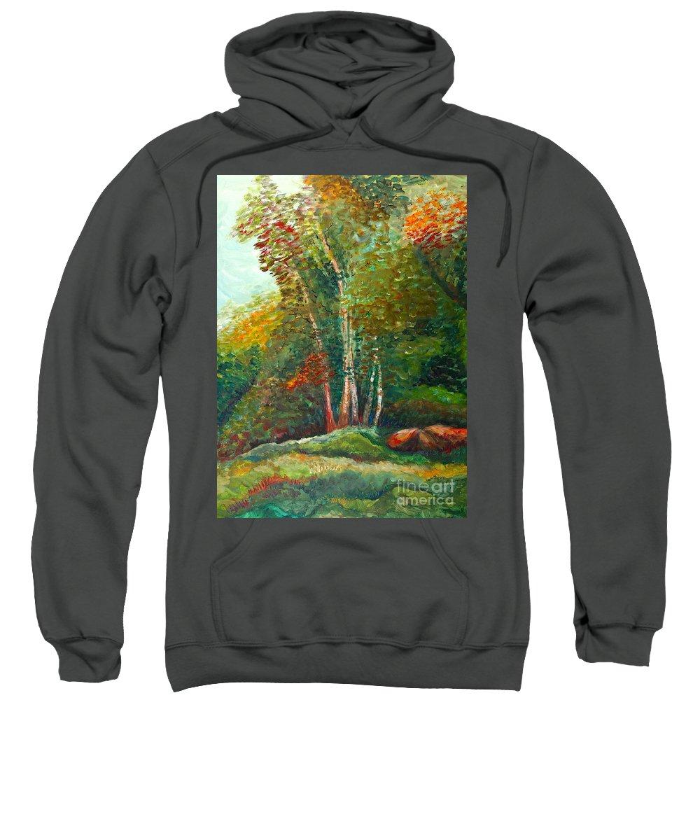 Landscape Sweatshirt featuring the painting Minnesota Quartet by Nadine Rippelmeyer