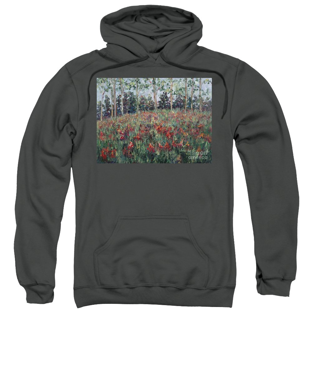 Landscape Sweatshirt featuring the painting Minnesota Wildflowers by Nadine Rippelmeyer