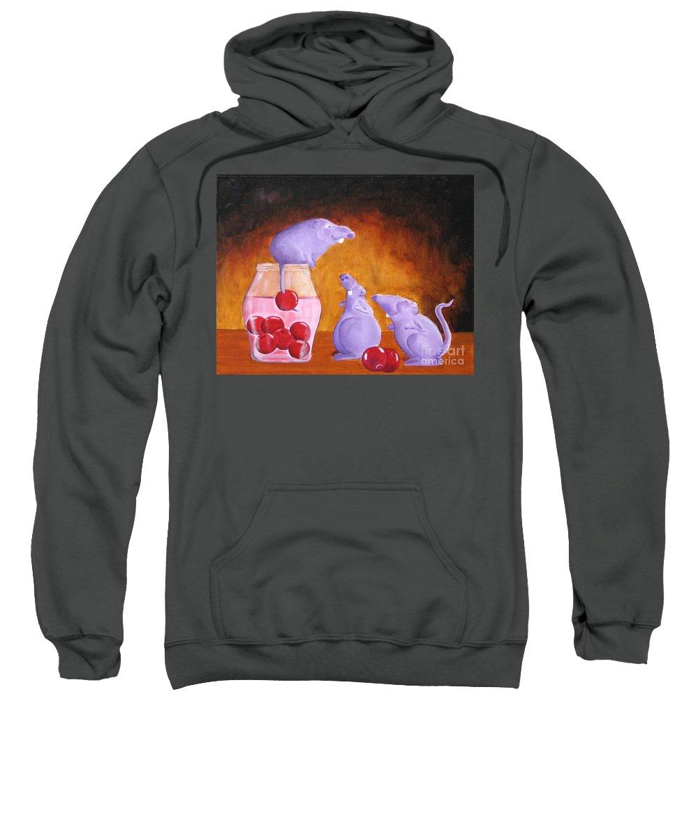 Mice Sweatshirt featuring the painting Mioummmmmmmmmm Cherriesssssssssss by Line Gagne