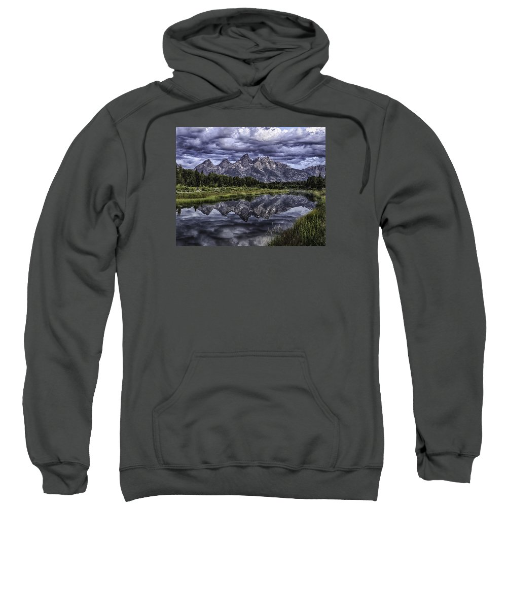 Mountains Sweatshirt featuring the photograph Mirrored Mountains by Elizabeth Eldridge